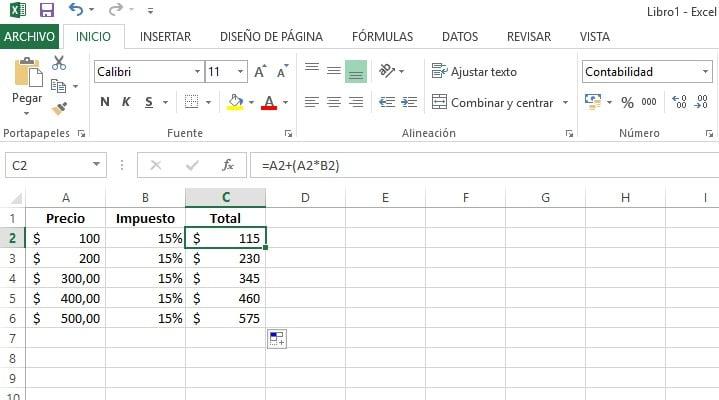 cálculo de porcentajes