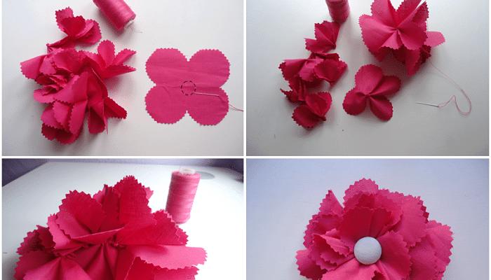 formas para hacer runa flor de tela