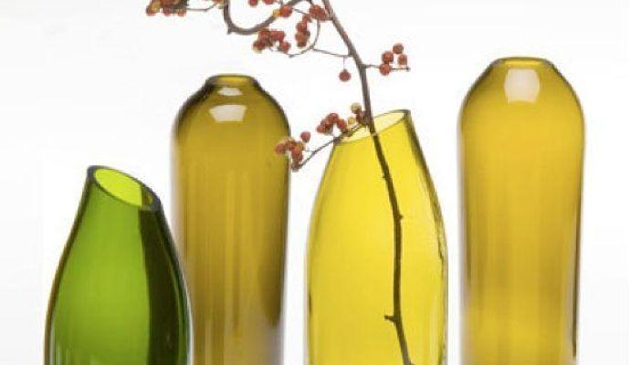 Botellas de cristal con borde